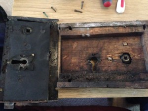 Lock and wooden surround separated